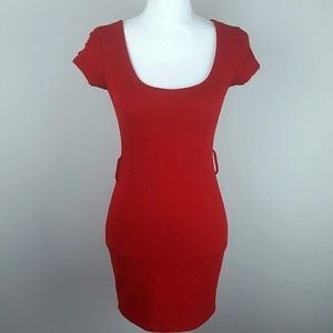 2b bebe Red Textured Bodycon Mini Dress XS